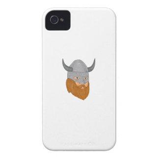 Viking Warrior Head Three Quarter View Drawing iPhone 4 Case