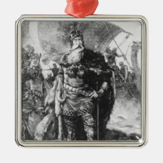 Viking Warrior Silver-Colored Square Ornament
