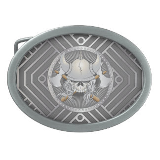 Viking Warrior Skull Oval Belt Buckle