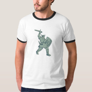 Viking Warrior Striking Sword Etching T-Shirt