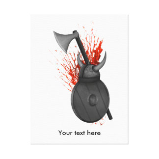 Viking Weapons  Of War And Blood Splatter Canvas Print