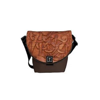 Viking wood carving messenger bags