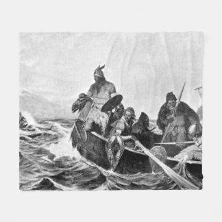 Vikings Landing in Iceland Illustration (1909) Fleece Blanket