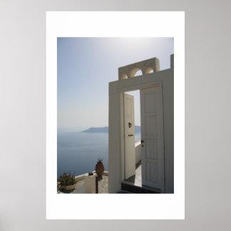 Villa door in Santorini Poster