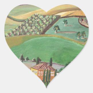 Villa in the Hill Heart Sticker
