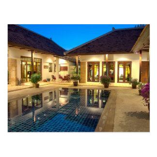 Villa with swimming pool postcard