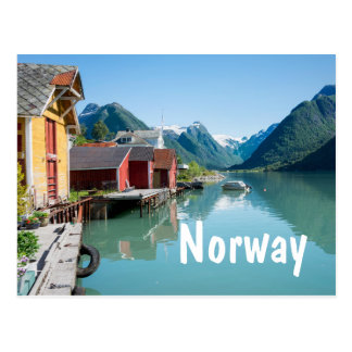 Village and a fjord in Norway text postcard
