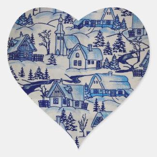 Village bleu vintage de vacances de Noël Autocollants
