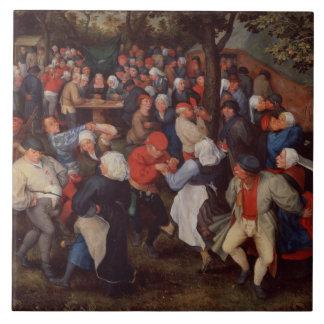 Village Dance (oil on panel) Tile