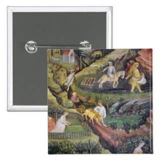 Village farmers doing work in April 2 Inch Square Button