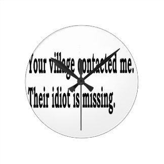 Village Idiot Round Clock