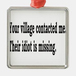 Village Idiot Silver-Colored Square Ornament