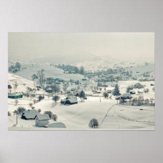 Village in winter poster