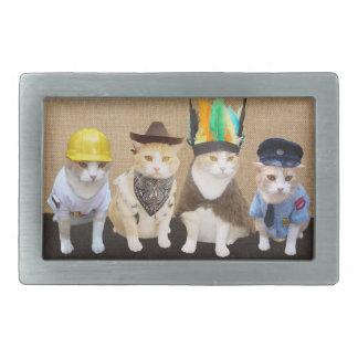 Village Kitties Rectangular Belt Buckle