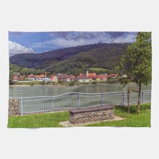 Village of Willendorf on the river Danube, Austria Kitchen Towel