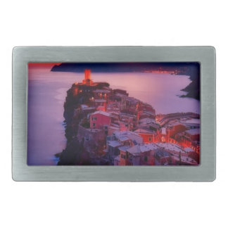 Village on River Landscape Rectangular Belt Buckles