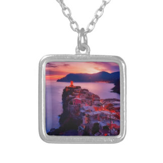 Village on River Landscape Silver Plated Necklace
