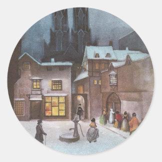Village paisible à Noël de cru de nuit Autocollants