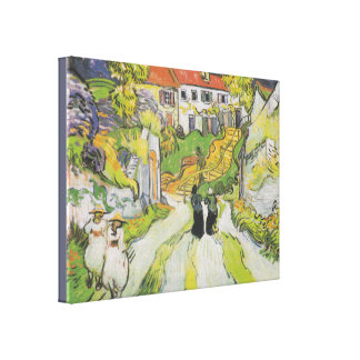 Village Street and Stairs in Auvers with Figures Canvas Print