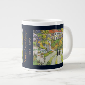 Village Street and Stairs in Auvers with Figures Large Coffee Mug