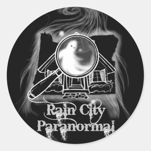 Ville de pluie paranormale -- État Ghostie de l'Or Autocollants
