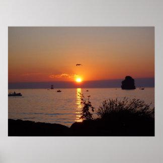 Villeneuve Geneva lake sunset Poster