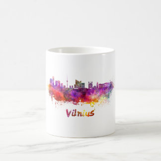 Vilnius skyline in watercolor coffee mug