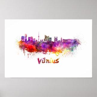 Vilnius skyline in watercolor poster