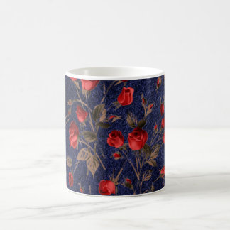 Vimtage Red Roses and Blue Leather Coffee Mug