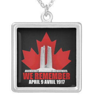 Vimy Ridge We Remember Silver Plated Necklace