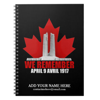 Vimy Ridge We Remember Spiral Notebooks