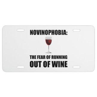 Vin de Novinophobia Plaque D'immatriculation