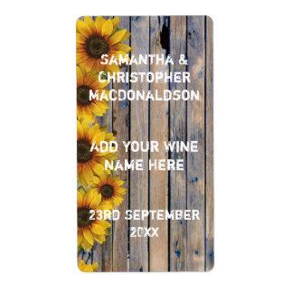 Vin floral de pays jaune rustique de tournesol étiquette d'expédition