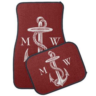 Vin rouge blanc vintage de corde d'ancre nautique tapis de sol