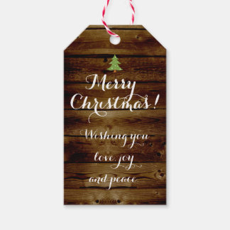 Vinage Country Wood Merry Christmas Personalized Gift Tags