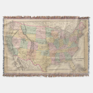 Vinage Map of The United States (1873) Throw Blanket