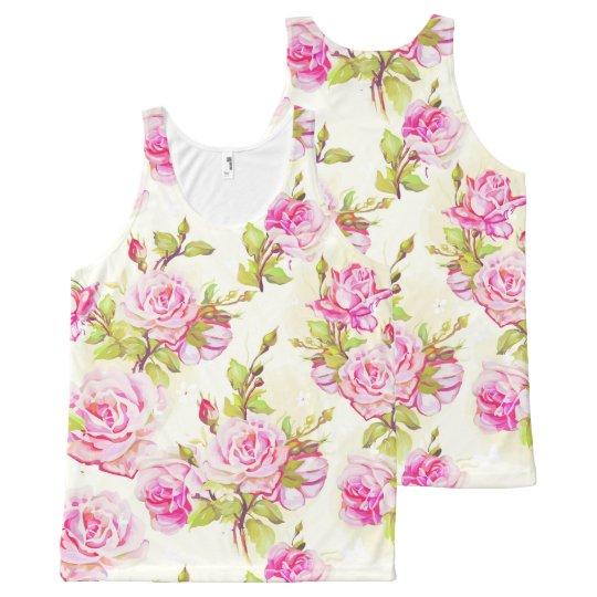 Vinatge Floral Pattern Old Roses U Tank Top