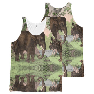 Vinatge Reversible Elephant/Rhino All-Over-Print Tank Top