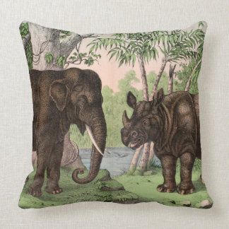 Vinatge Reversible Elephant/Rhino/Monkey Throw Pillow