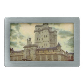 Vincennes castle, Paris painting Rectangular Belt Buckles