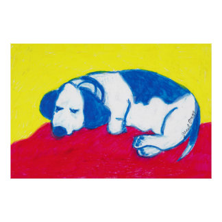 Vincent the Basset Hound in Primary Colors Poster
