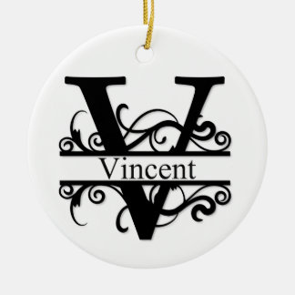 Vincent V Monogram Ceramic Ornament
