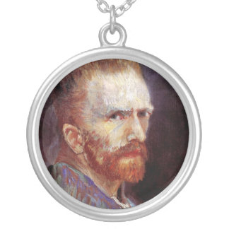 Vincent Van Gogh - 1887 Self Portrait Painting Silver Plated Necklace