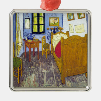 Vincent van Gogh 1888 The Bedroom At Arles Silver-Colored Square Ornament