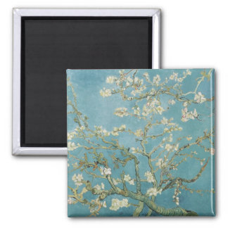 vincent van gogh, almond blossoms square magnet