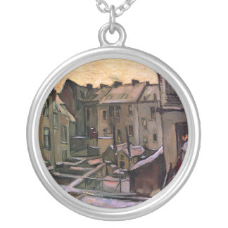Vincent Van Gogh - Backyards Of Old Houses Silver Plated Necklace