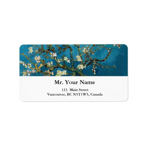 Vincent van Gogh, Blossoming Almond Tree Address Label