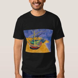 vincent van gogh  boats at saintes marie watercolo shirt