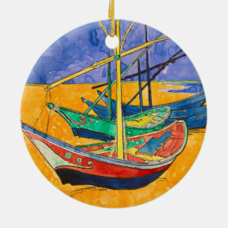 Vincent Van Gogh Boats Impressionist Round Ceramic Ornament