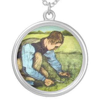 Vincent Van Gogh - Boy Cutting Grass with Sickle Silver Plated Necklace
